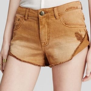 Free people tan denim shorts